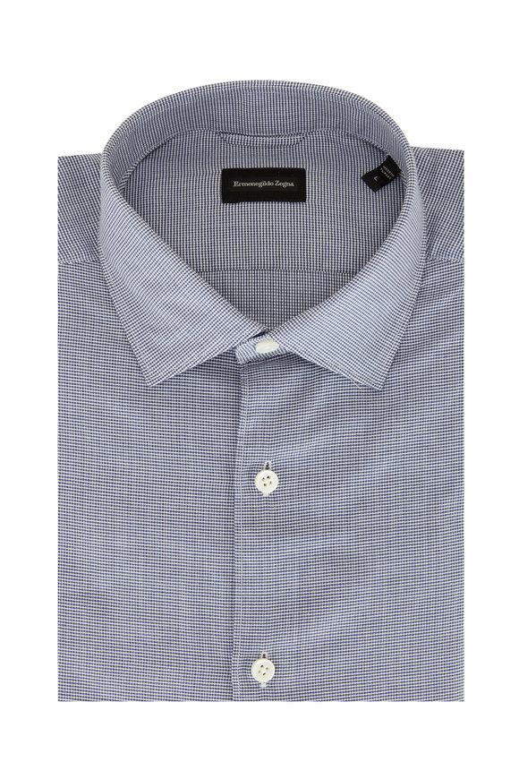 Ermenegildo Zegna Blue & White Cotton Sportshirt