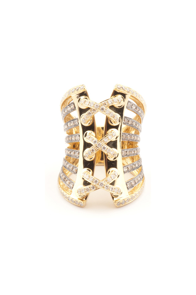 Gold Diamond Corset Ring