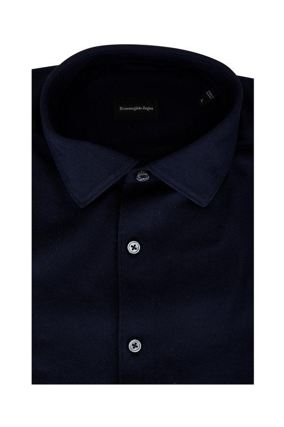Ermenegildo Zegna Navy Cotton Sport Shirt