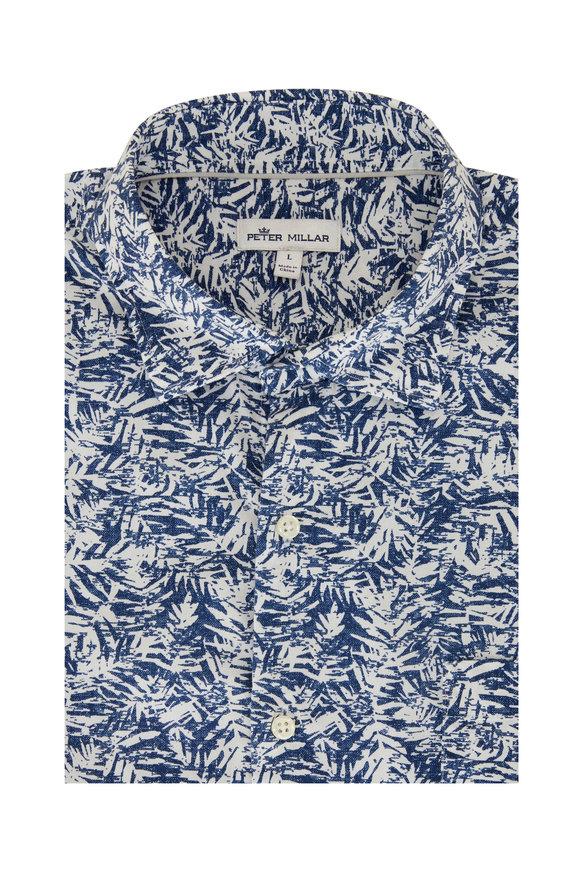 Peter Millar Whitepalm Blue & White Sport Shirt