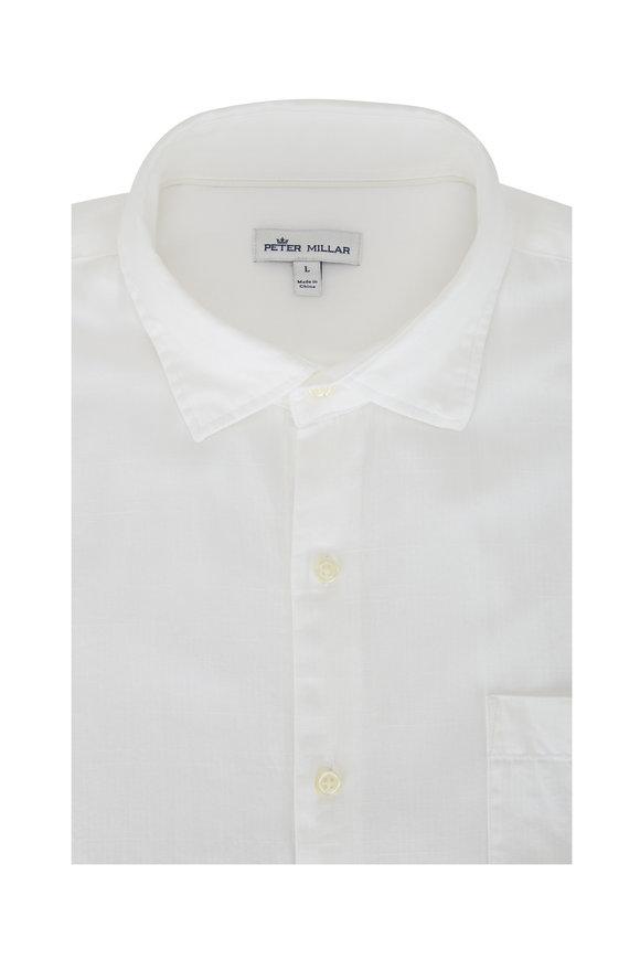 Peter Millar Cannon Beach White Cotton Sport Shirt