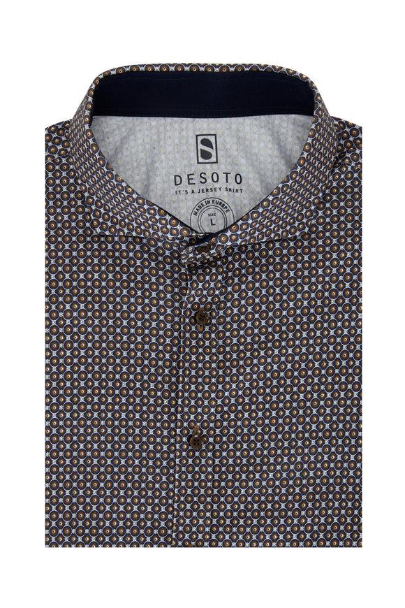 Desoto Brown Print Short Sleeve Sport Shirt