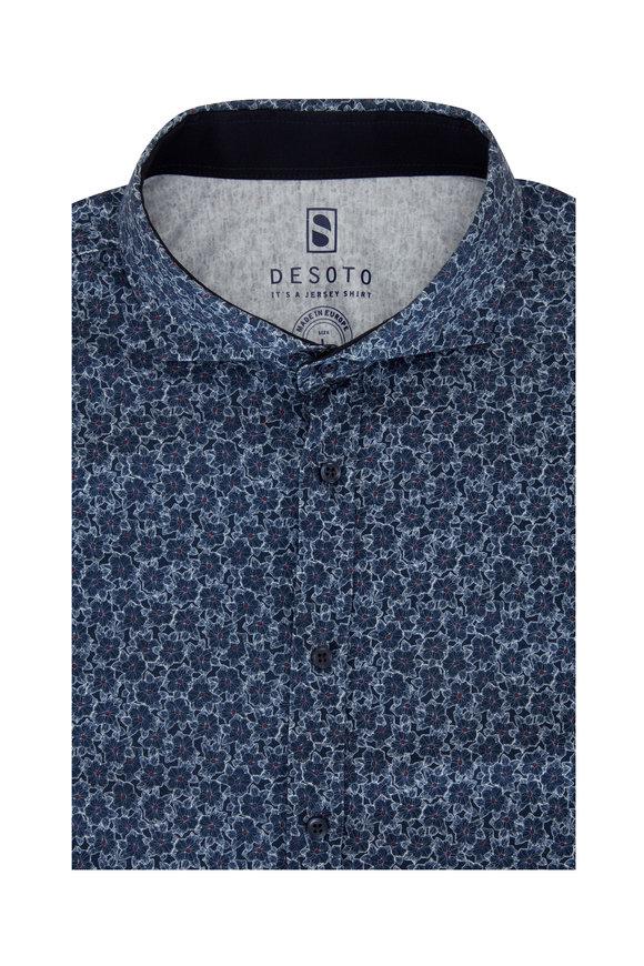 Desoto Blue Flower Print Short Sleeve Sport Shirt