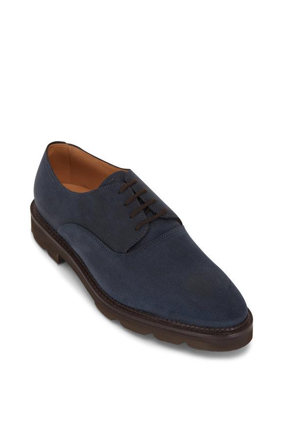 John Lobb Milton Teal Waxed Suede Dress Shoe
