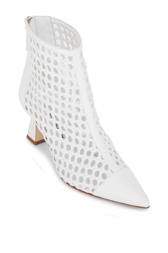 Manolo Blahnik Griego White Woven Leather Bootie, 70mm