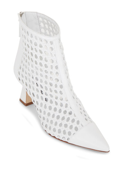 Manolo Blahnik - Griego White Woven Leather Bootie, 70mm