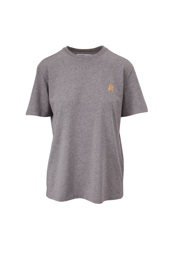 Golden Goose Star Mélange Gray Metallic Star T-Shirt