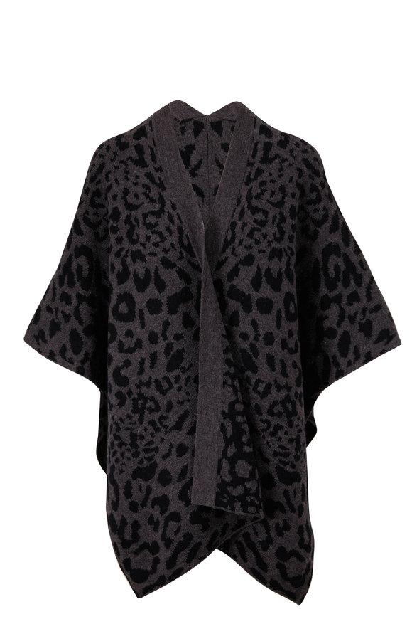 Kinross Charcoal Leopard Reversible Ruana