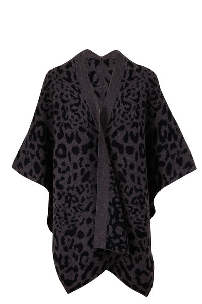 Kinross - Charcoal Leopard Reversible Ruana