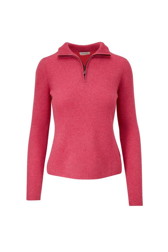 Kinross Berry Cashmere Zip Mockneck Sweater