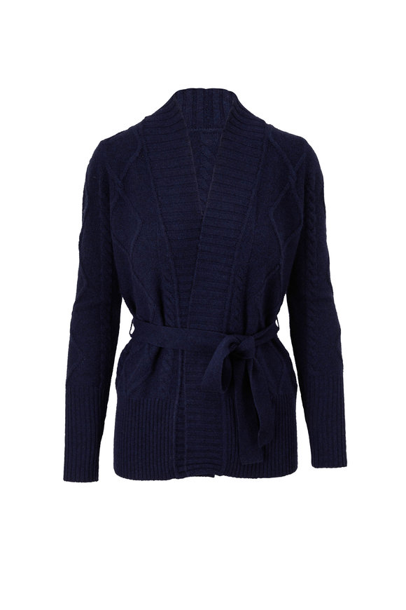 Kinross Navy Cashmere Belted Luxe Cable Knit Cardigan