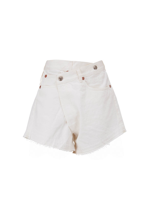 R13 Crossover White Jean Shorts