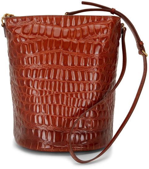 Saint Laurent Vintage Rust Brown Embossed Leather Bucket Bag