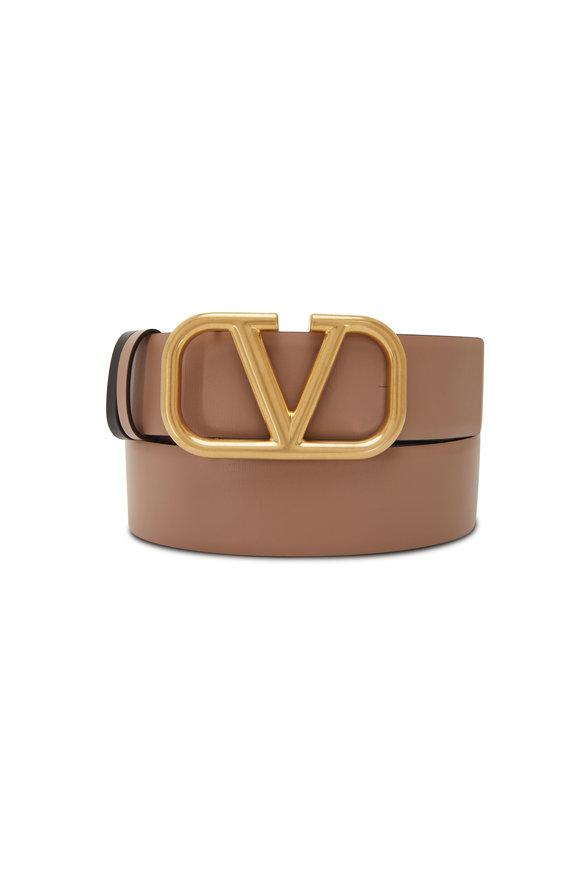 Valentino Garavani Smokey Brown & Black Reversible Logo Belt