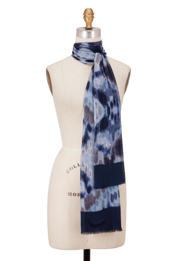 Kinross Mountain Ikat Haze Blue Print Scarf
