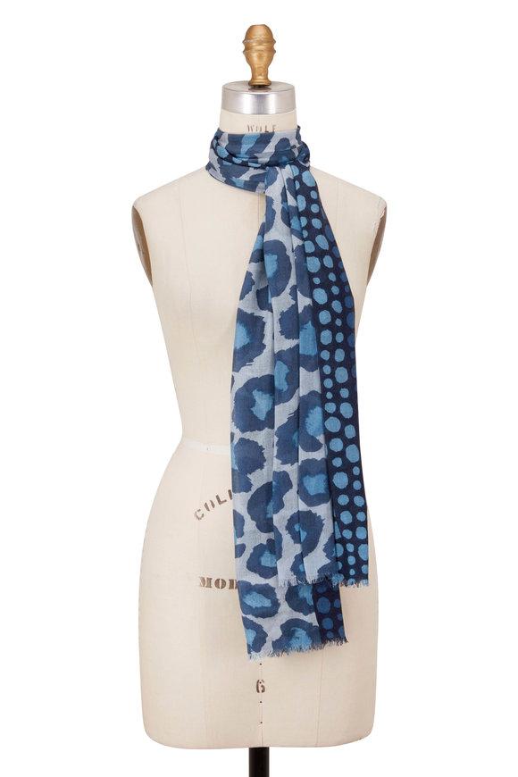 Kinross Blue Spruce Spotted Leopard Print Scarf