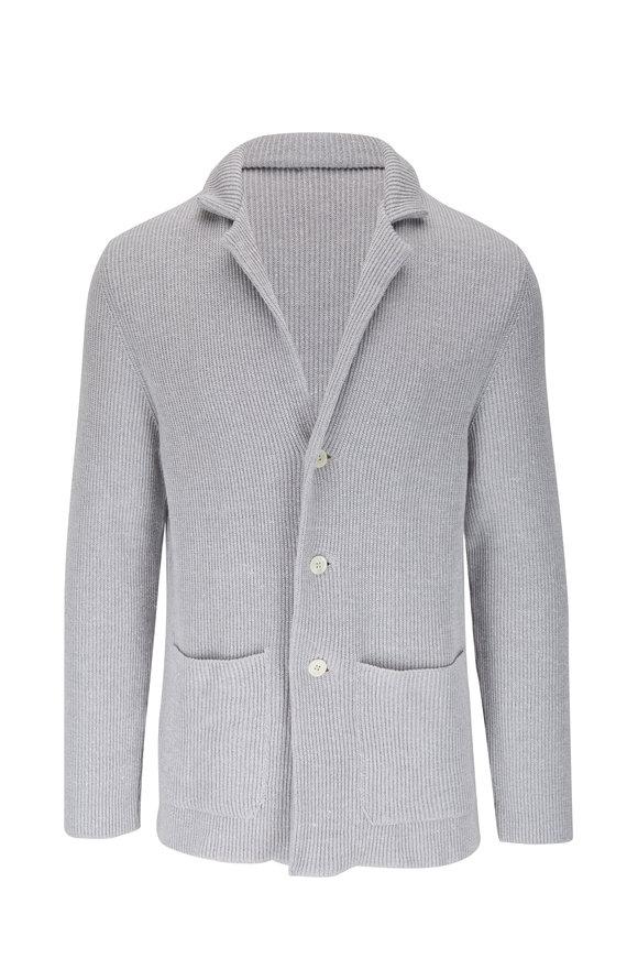 Isaia Light Gray Cotton & Linen Knit Cardigan
