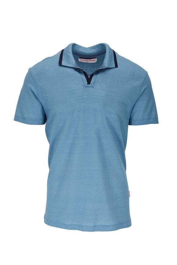 Orlebar Brown Felix Capri Blue Linen Polo