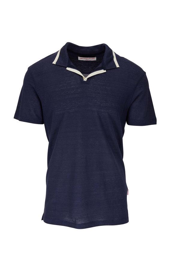 Orlebar Brown Felix Navy Linen Polo