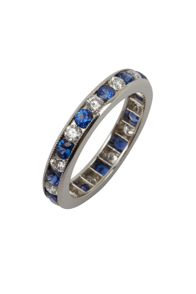 Platinum Blue Sapphire & White Diamond Ring