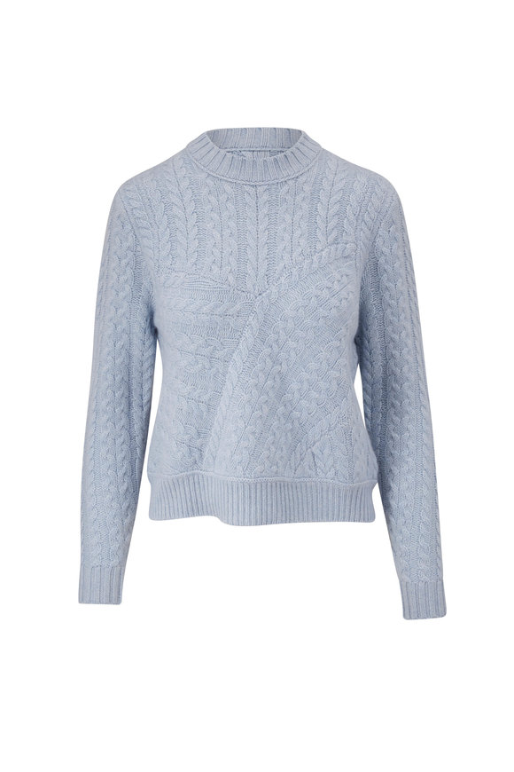 Kinross Light Blue Luxe Cashmere Cable Knit Sweater