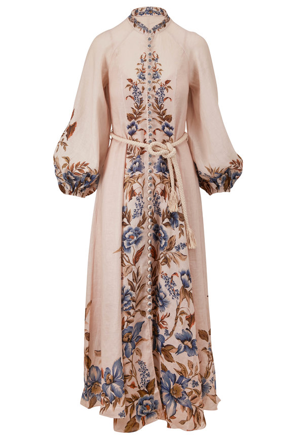 Zimmermann Aliane Khaki Floral Long Dress