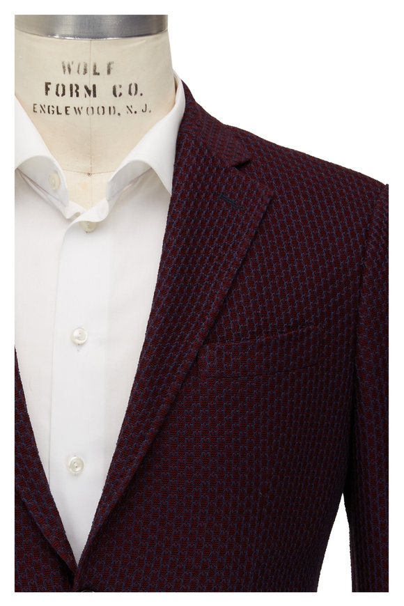 Etro Wine Cotton Knit Jacket