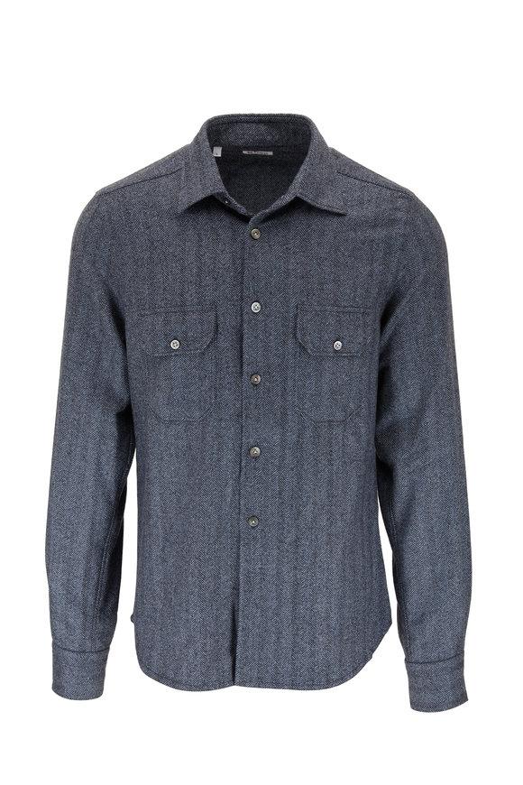 Kiton Blue Herringbone Over Shirt