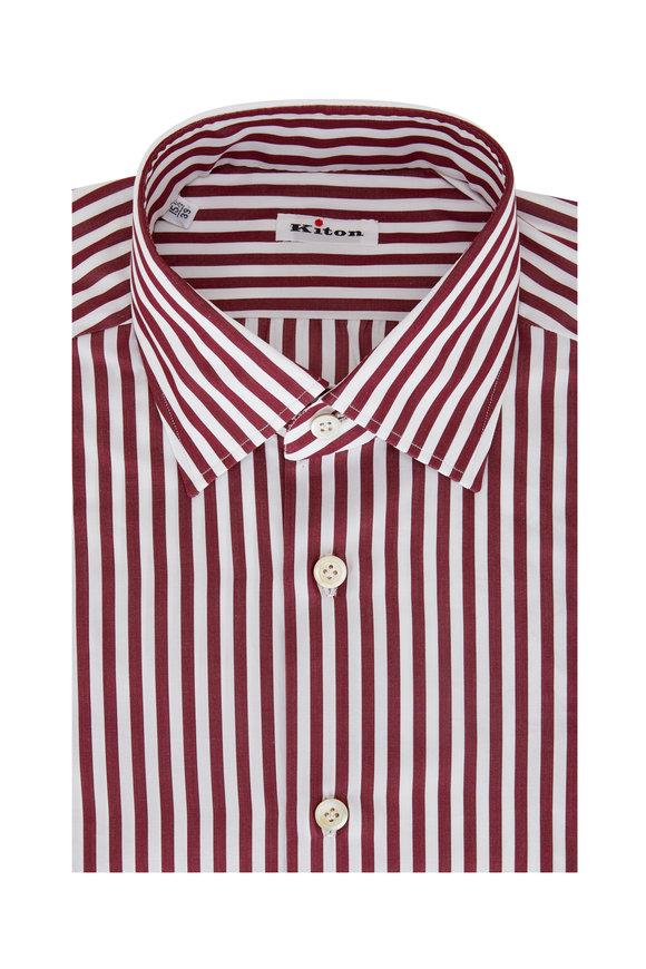 Kiton Burgundy Bengal Stripe Sport Shirt