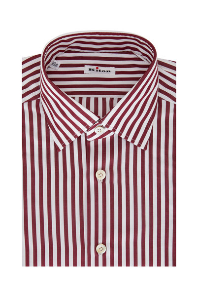 Kiton - Burgundy Bengal Stripe Sport Shirt