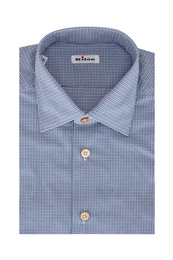 Kiton Blue Mini Check Sport Shirt
