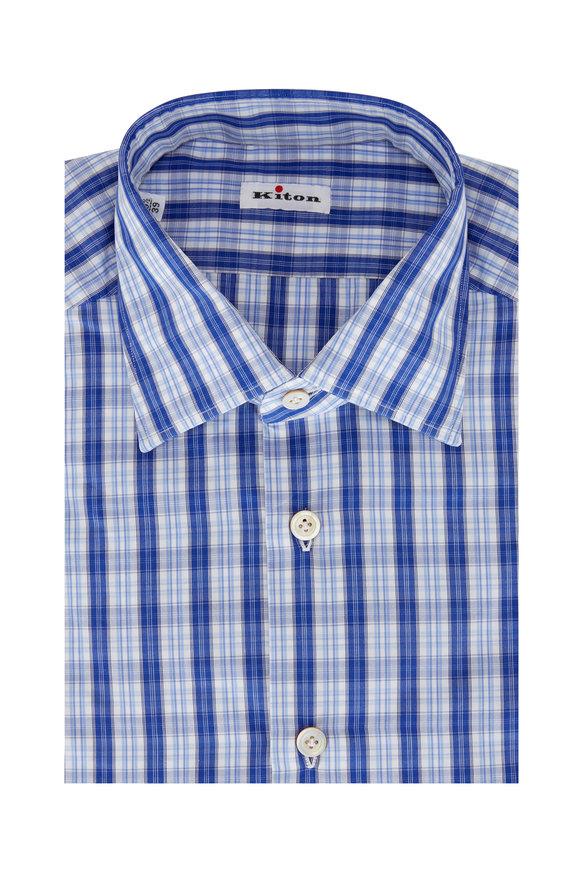 Kiton Blue Check Sport Shirt