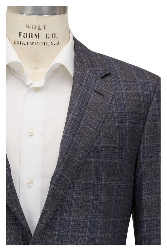 Canali Gray & Blue Plaid 130s Wool Sportcoat