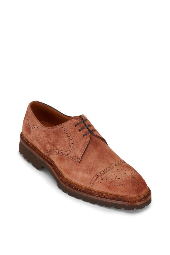 Bontoni Trionfo Terracotta Suede Lace Up Dress Shoe