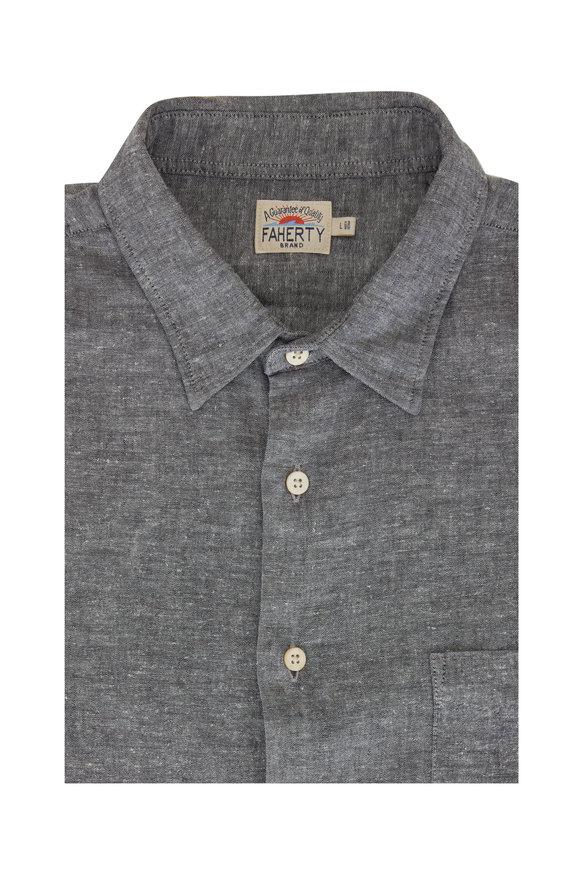 Faherty Brand Breeze Slate Chambray Button Down Shirt