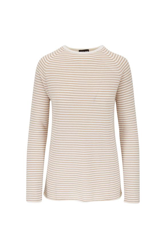 Giorgio Armani Ivory Cashmere Stripe Sweater