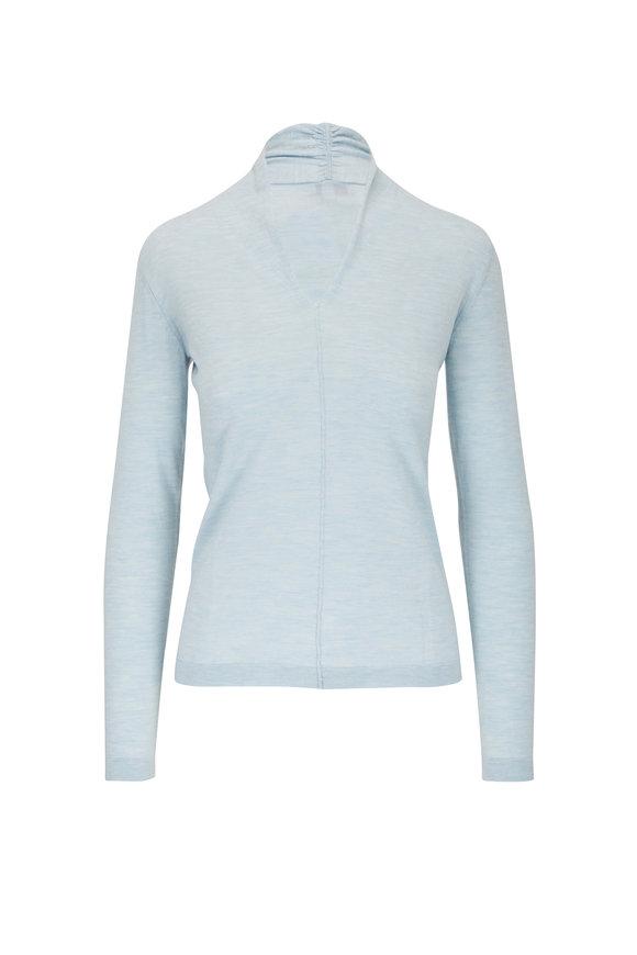Kinross Haze Worsted Cashmere Gathered V-Neck Sweater