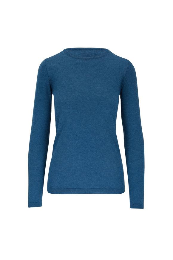Kinross Blue Spruce Worsted Cashmere Crewneck Sweater