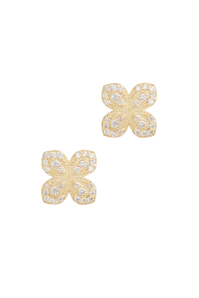 Gold Flower Petal Pavé-Set Diamond Earrings