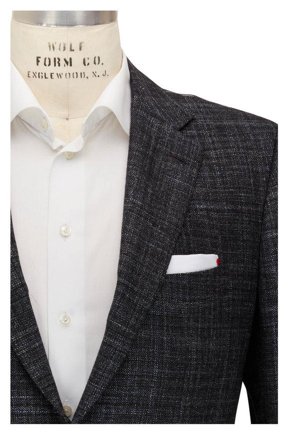 Kiton Gray Faint Check Cashmere, Wool, & Silk Sportcoat