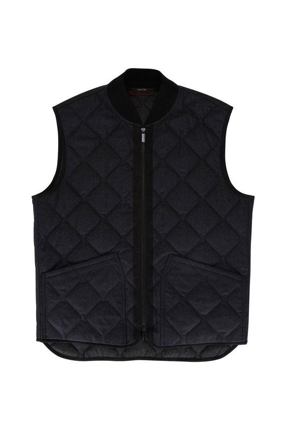 Ermenegildo Zegna Charcoal Quilted Flannel Vest
