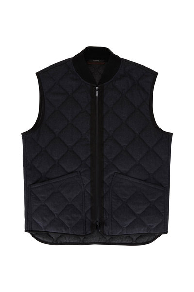 Ermenegildo Zegna - Charcoal Quilted Flannel Vest