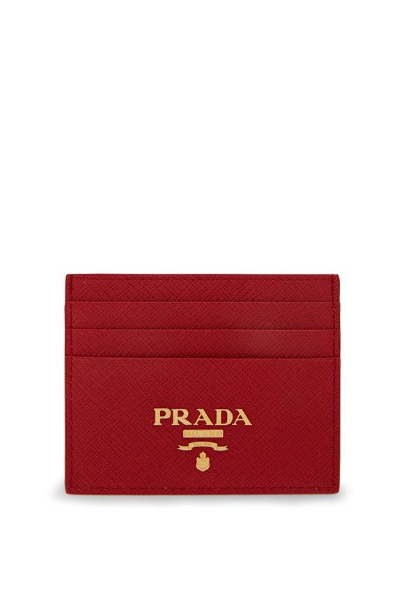 Prada Red Saffiano Leather Card Holder