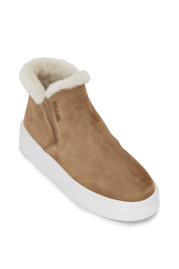 Prada Tan Suede Shearling Ankle Boot