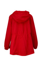 Valentino - Red Rose Appliqué Front Zip Hooded Jacket