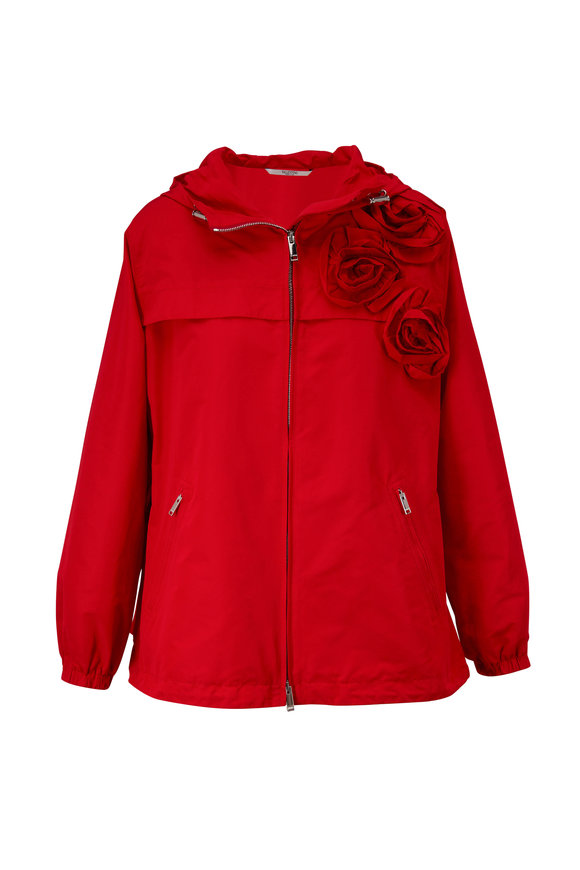Valentino Red Rose Appliqué Front Zip Hooded Jacket