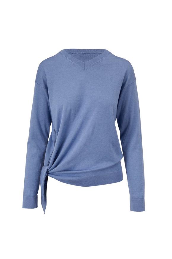 Valentino Cornflower Blue Cashmere & Silk V-Neck Sweater