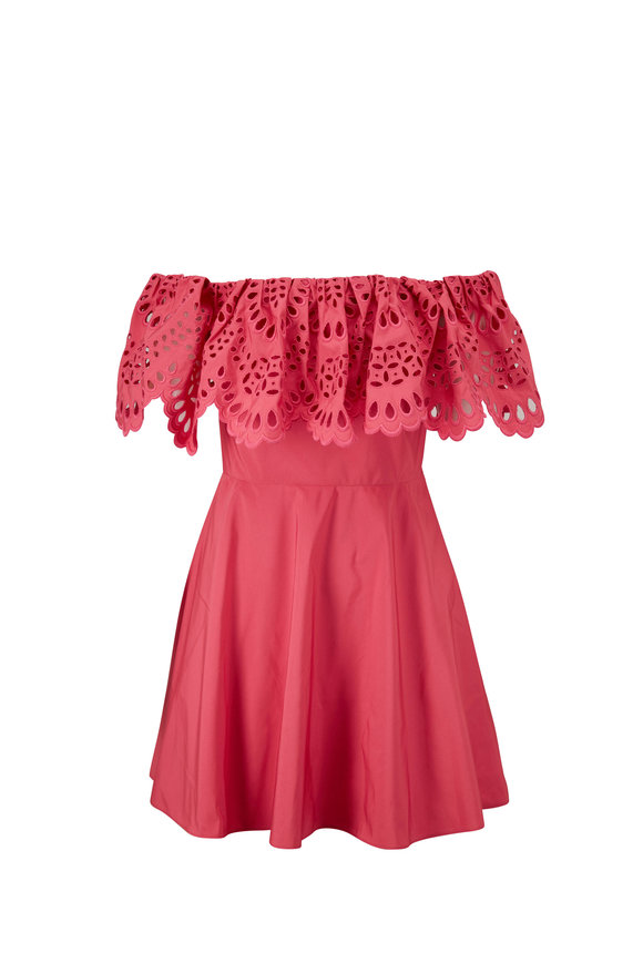 Valentino Pink San Gallo Eyelet Embroidered Dress