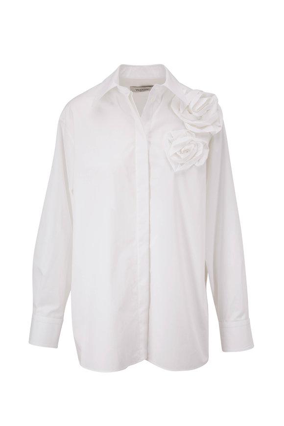 Valentino White Poplin Rose Applique Blouse