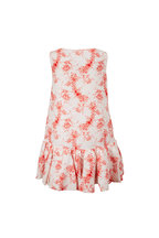 Valentino - Ivory & Red Floral Flounce Hem Shift Dress